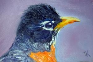 American Robin, 2014. (Oil, 4 x 6)