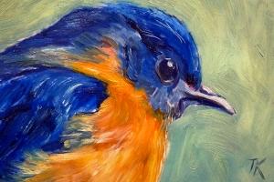 Eastern Bluebird, 2014. (Oil, 4 x 6)