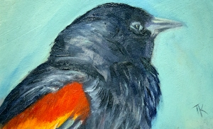 Red-tipped Blackbird, 2014. (Oil, 4 x 6)