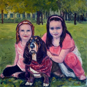 Diane smolnic gift for friend oil painting with girls web